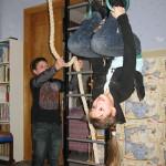 В нашей детской на шведской стенке Лена