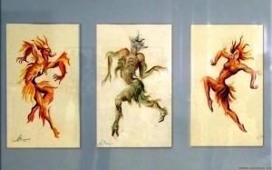 Эскизы костюмов Шайтана, Шурале и Огненной ведьмы