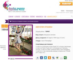 Моя страничка в рейтинге молодых спортсменов России